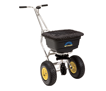 Push spreader pro, 22 kg capacity, stainless steel frame,  poly hopper with cover, Spreading width 1,2 - 3,7 m, Metal gears with lifetime warranty, 13