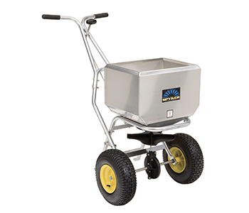 Push spreader pro, 50 kg capacity, stainless steel frame,  stainless steel hopper with cover, Spreading width 1,2 - 4,0 m, Metal gears with lifetime warranty, 13